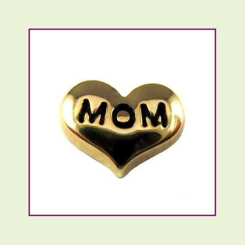 Mom on Gold Heart Floating Charm