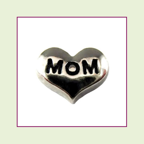 Mom on Silver Heart Floating Charm
