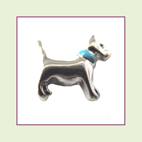 Dog with Blue Collar (Silver Base) Floating Charm