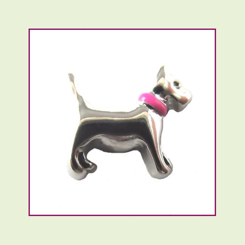 Dog with Pink Collar (Silver Base) Floating Charm