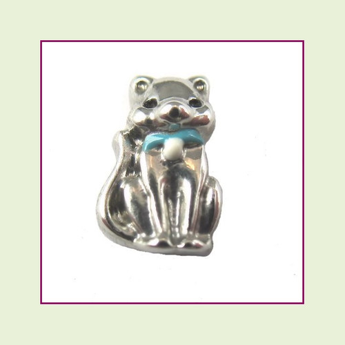 Cat with Blue Collar (Silver Base) Floating Charm