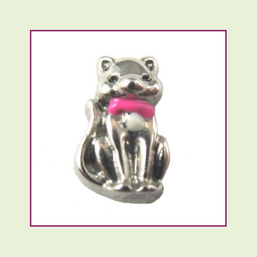 Cat with Pink Collar (Silver Base) Floating Charm