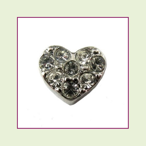 Heart with Clear CZ Stones (Silver Base) Floating Charm