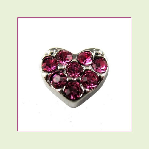 Heart with Pink CZ Stones (Silver Base) Floating Charm