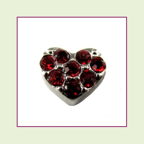 Heart with Red CZ Stones (Silver Base) Floating Charm