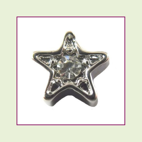 Star Silver CZ (Clear Stone) Floating Charm