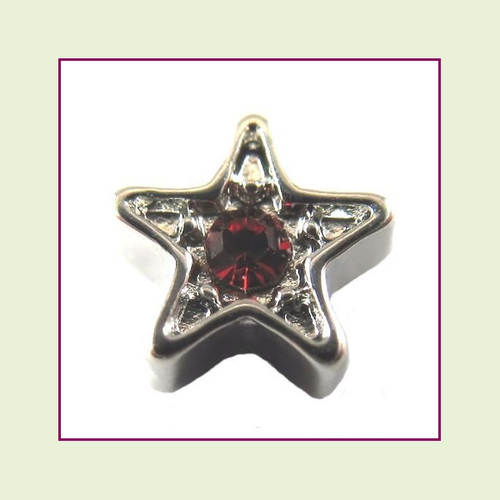 Star Silver CZ (Red Stone) Floating Charm