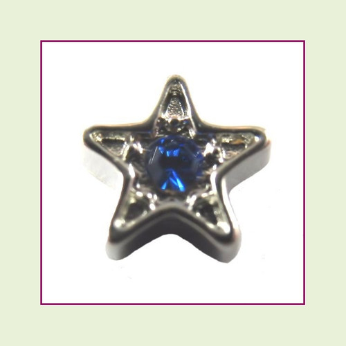 Star Silver CZ (Blue Stone) Floating Charm
