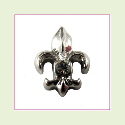 Fleur de Lis Silver Floating Charm
