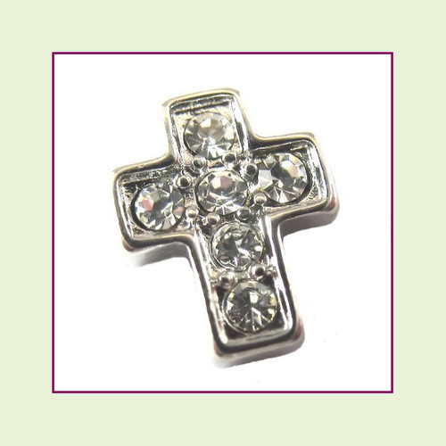 Cross CZ Silver Floating Charm