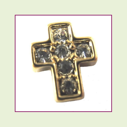 Cross CZ Gold Floating Charm