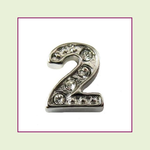CZ Silver Number 2 Floating Charm