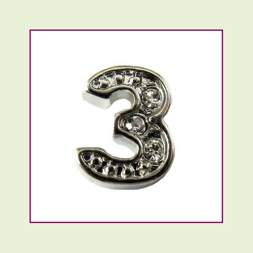 CZ Silver Number 3 Floating Charm