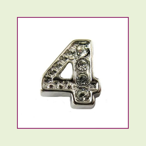 CZ Silver Number 4 Floating Charm