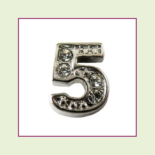 CZ Silver Number 5 Floating Charm