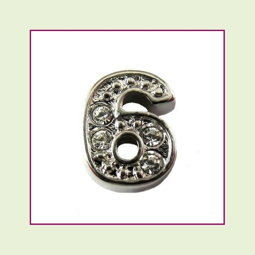 CZ Silver Number 6 Floating Charm