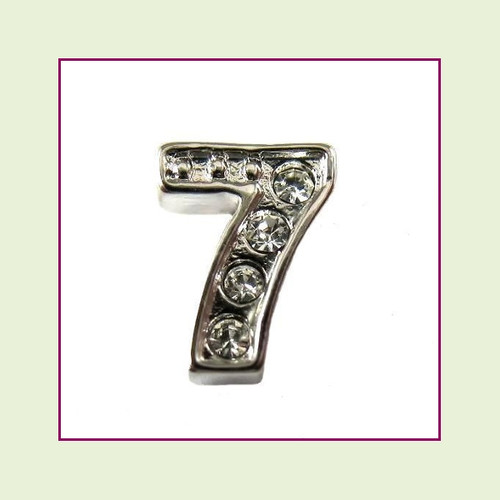 CZ Silver Number 7 Floating Charm