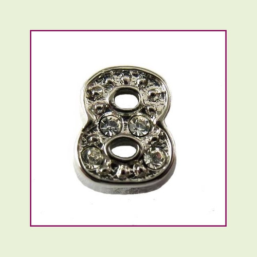 CZ Silver Number 8 Floating Charm