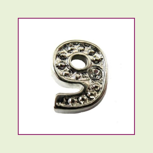 CZ Silver Number 9 Floating Charm