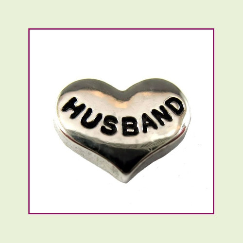 Husband on Silver Heart Floating Charm