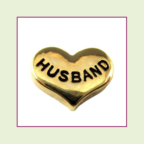 Husband on Gold Heart Floating Charm