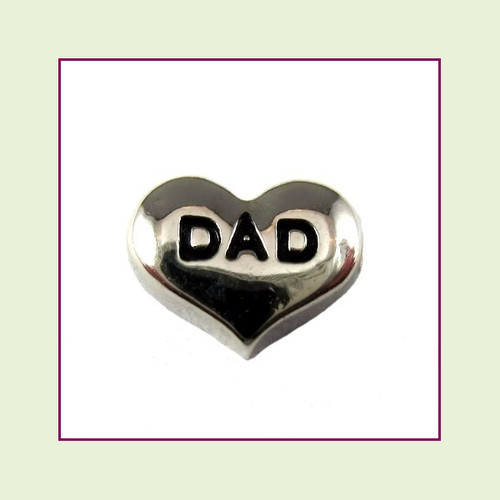 Dad on Silver Heart Floating Charm