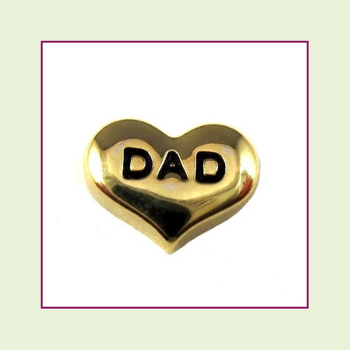 Dad on Gold Heart Floating Charm