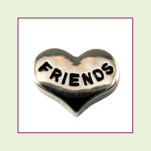 Friends on Silver Heart Floating Charm