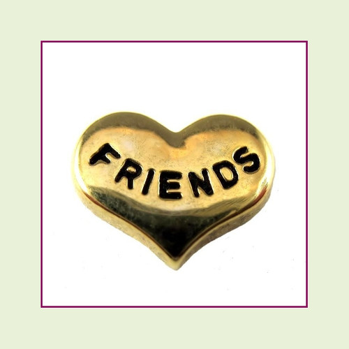 Friends on Gold Heart Floating Charm