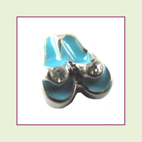 Flip Flops Blue with CZ Stones (Silver Base) Floating Charm