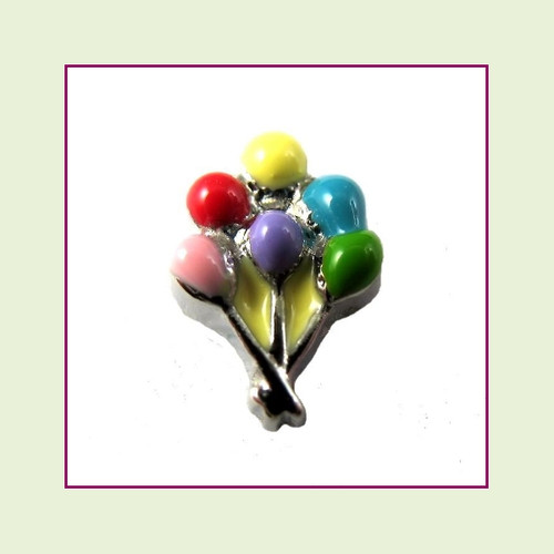 Party Balloons #2 (Silver Base) Floating Charm