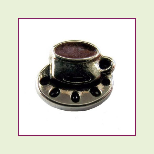 Coffee Cup Silver Floating Charm