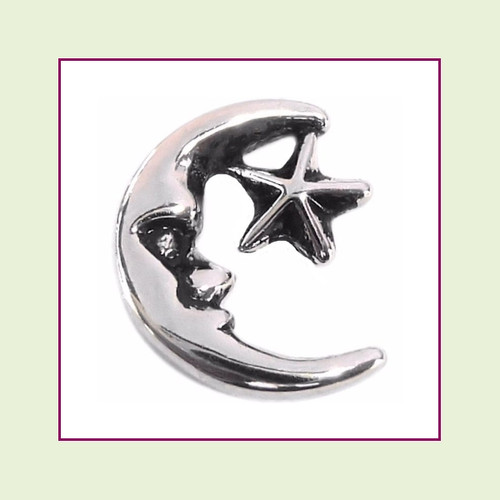 Moon & Star Silver Floating Charm