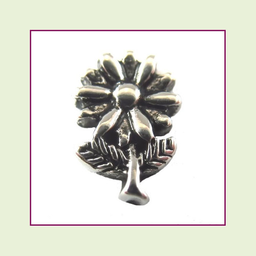 Daisy on Stem Silver Floating Charm