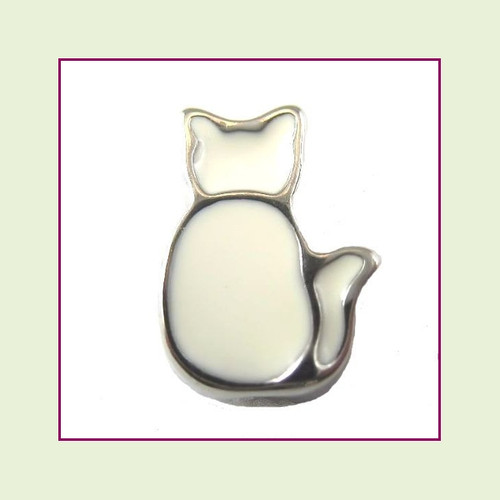 Cat Sitting - White (Silver Base) Floating Charm