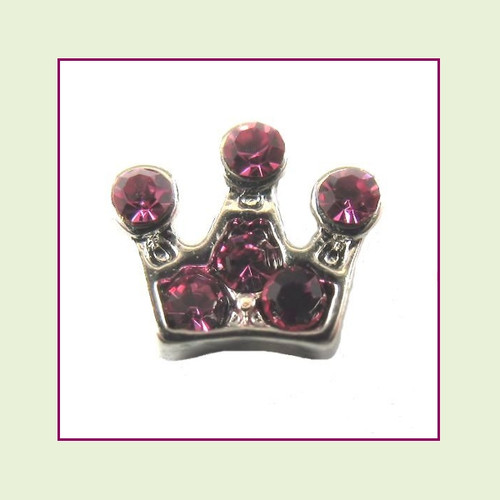 Crown Pink CZ Floating Charm
