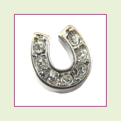 Horse Shoe Silver CZ Floating Charm