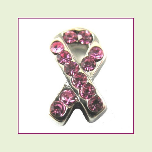 CZ Ribbon - Pink (Silver Base) Floating Charm