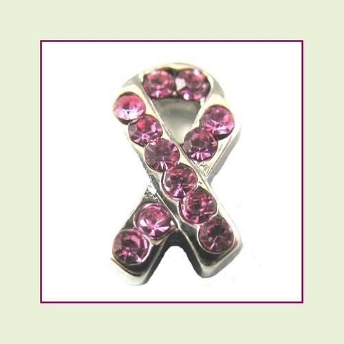 CZ Ribbon - Pink (Silver Base) Floating Charm