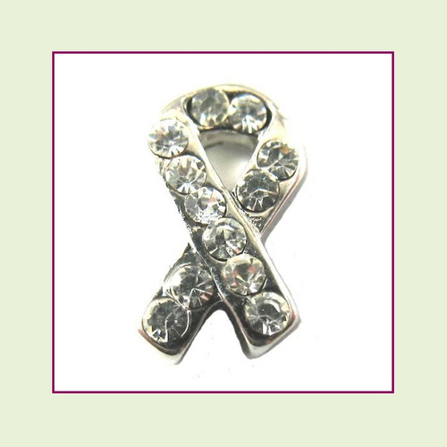 CZ Ribbon - Clear (Silver Base) Floating Charm