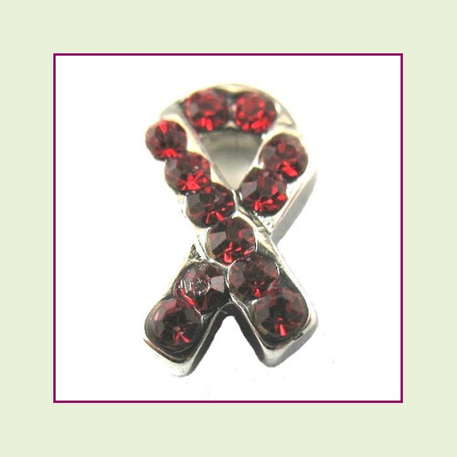 CZ Ribbon - Red (Silver Base) Floating Charm
