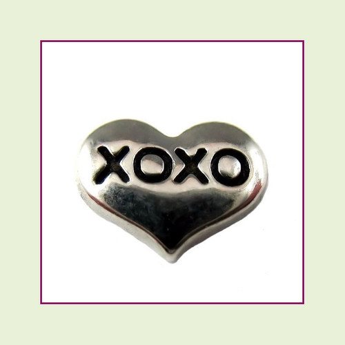 XOXO on Silver Heart Floating Charm