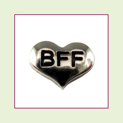 BFF on Silver Heart Floating Charm