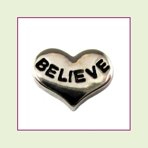 Believe Silver Heart Floating Charm