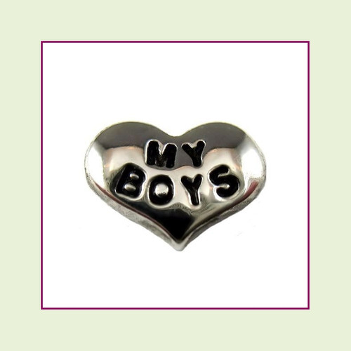 My Boys on Silver Heart Floating Charm
