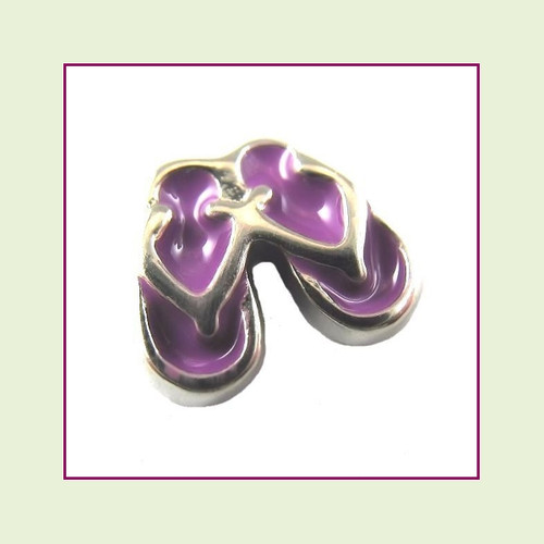 Flip Flops Purple (Silver Base) Floating Charm