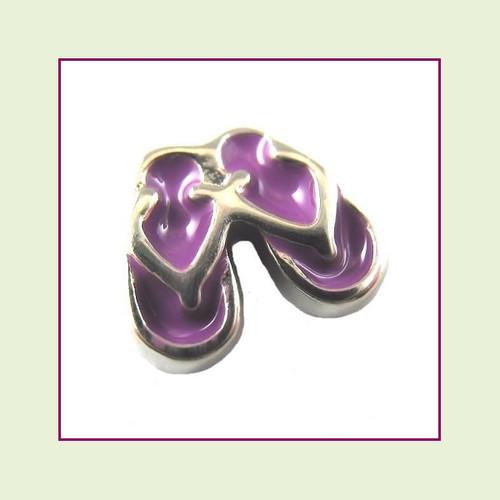 Flip Flops Purple (Silver Base) Floating Charm