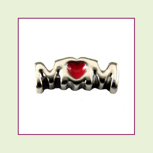 Mom (M+Heart+M) Silver Floating Charm