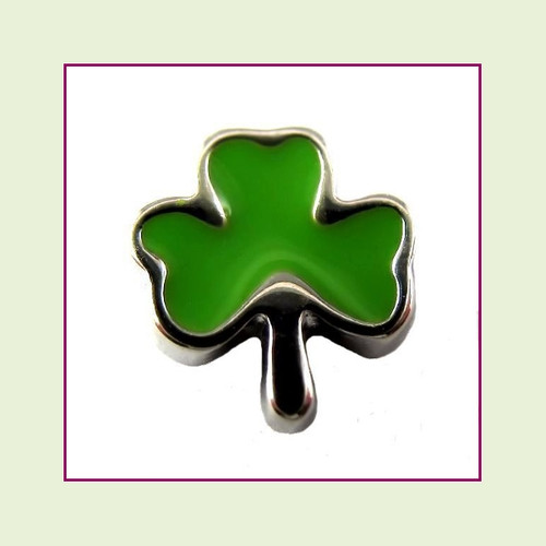 Shamrock Green (Silver Base) Floating Charm
