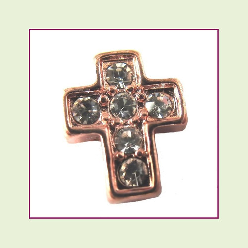 Cross CZ Rose Floating Charm